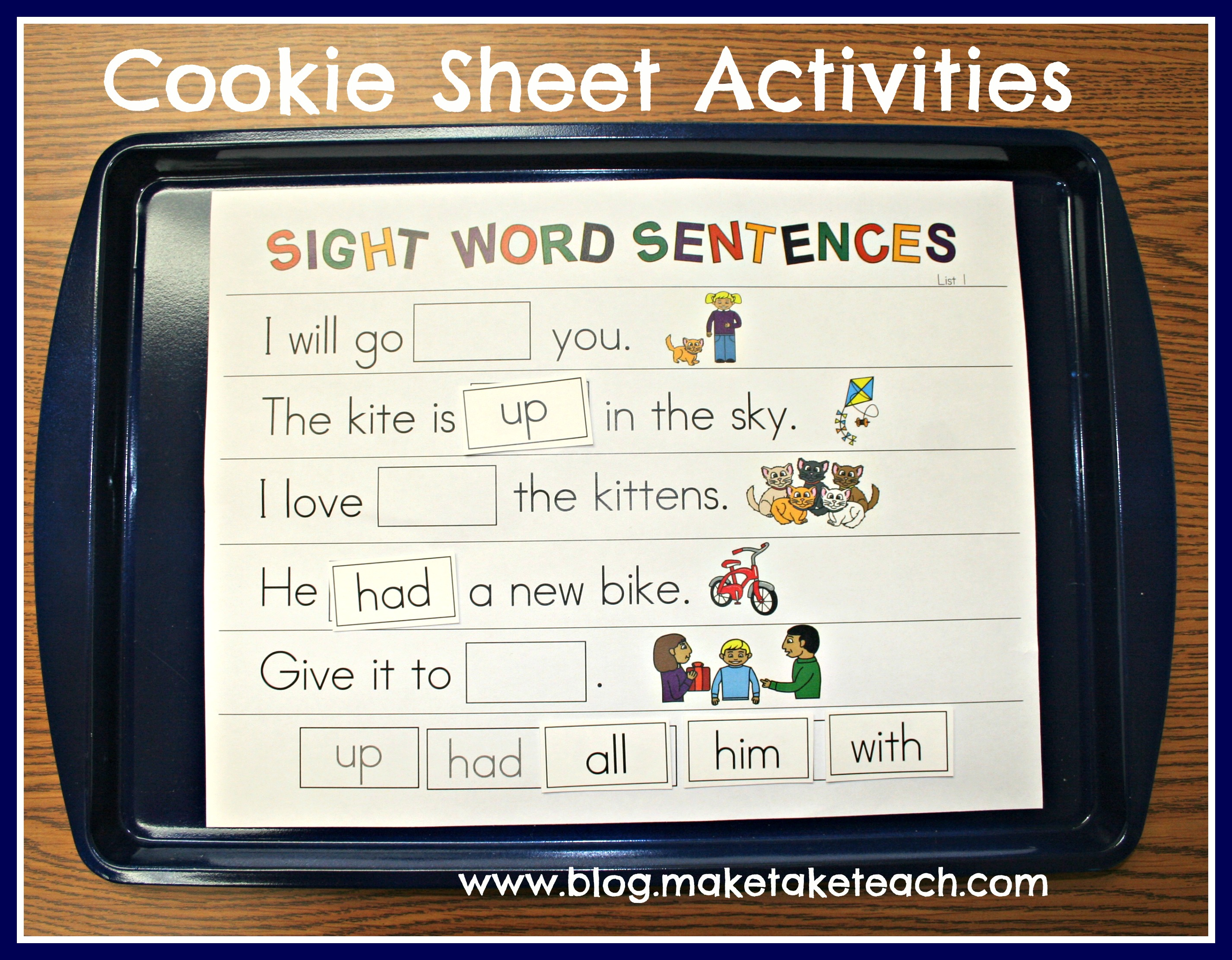 math worksheet : cookie sheet challenge volume 3 sight words  make take  teach : Kindergarten Sight Word Sentences Worksheets