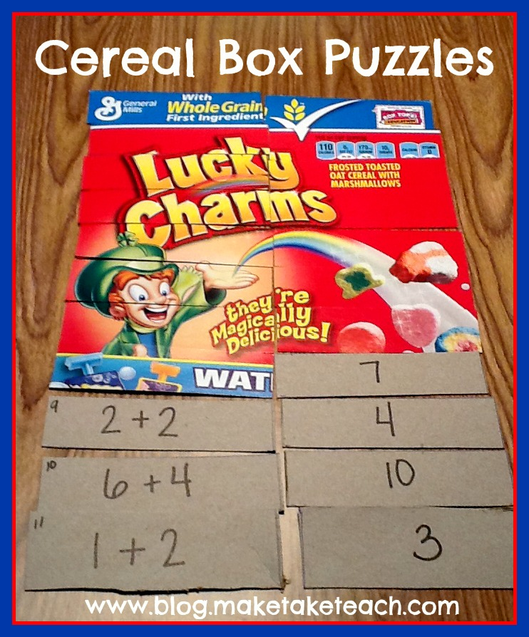 Printable Cereal Box Games Puzzles Make Take amp Teach