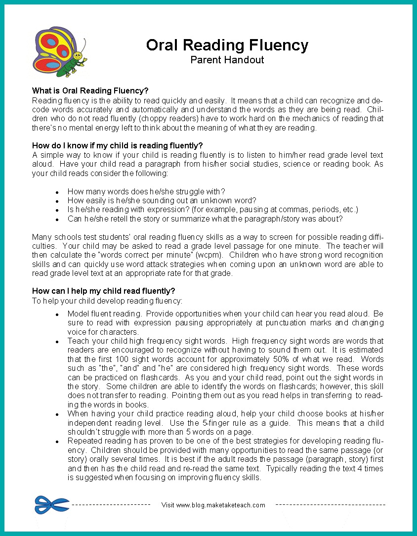 ... parent handout for oral reading fluency Oral Reading Fluency- Parent