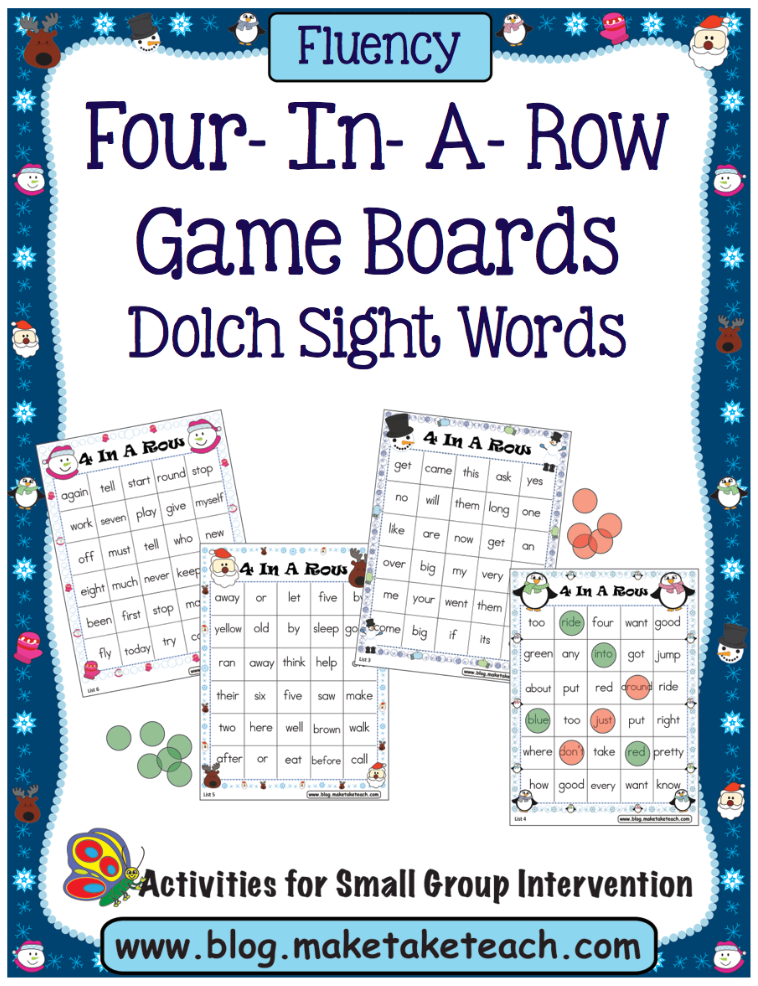 four in a row winter themed freebie make take teach