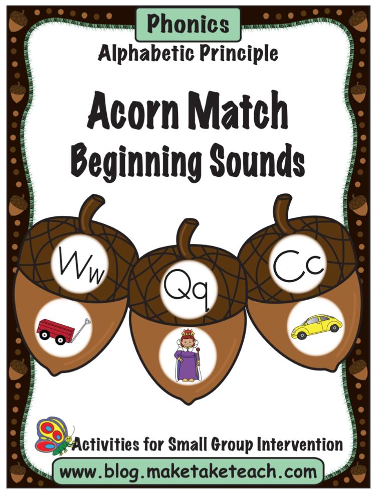 Acorn Match Alphabet Pg 1