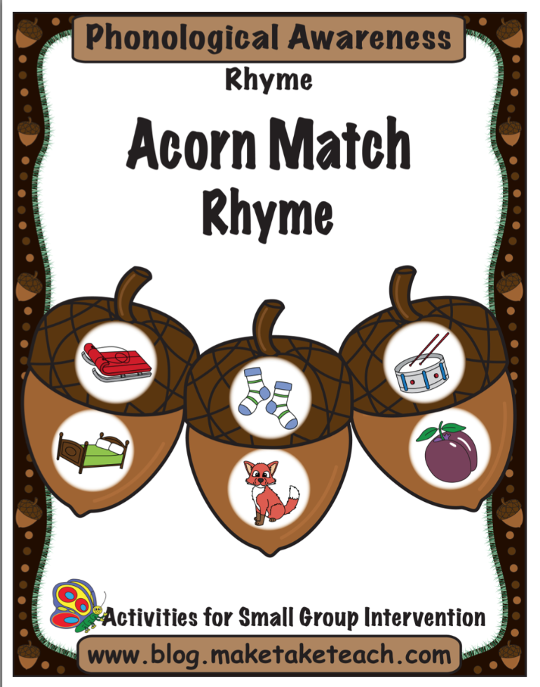 Acorn Match Rhyme Pg 1
