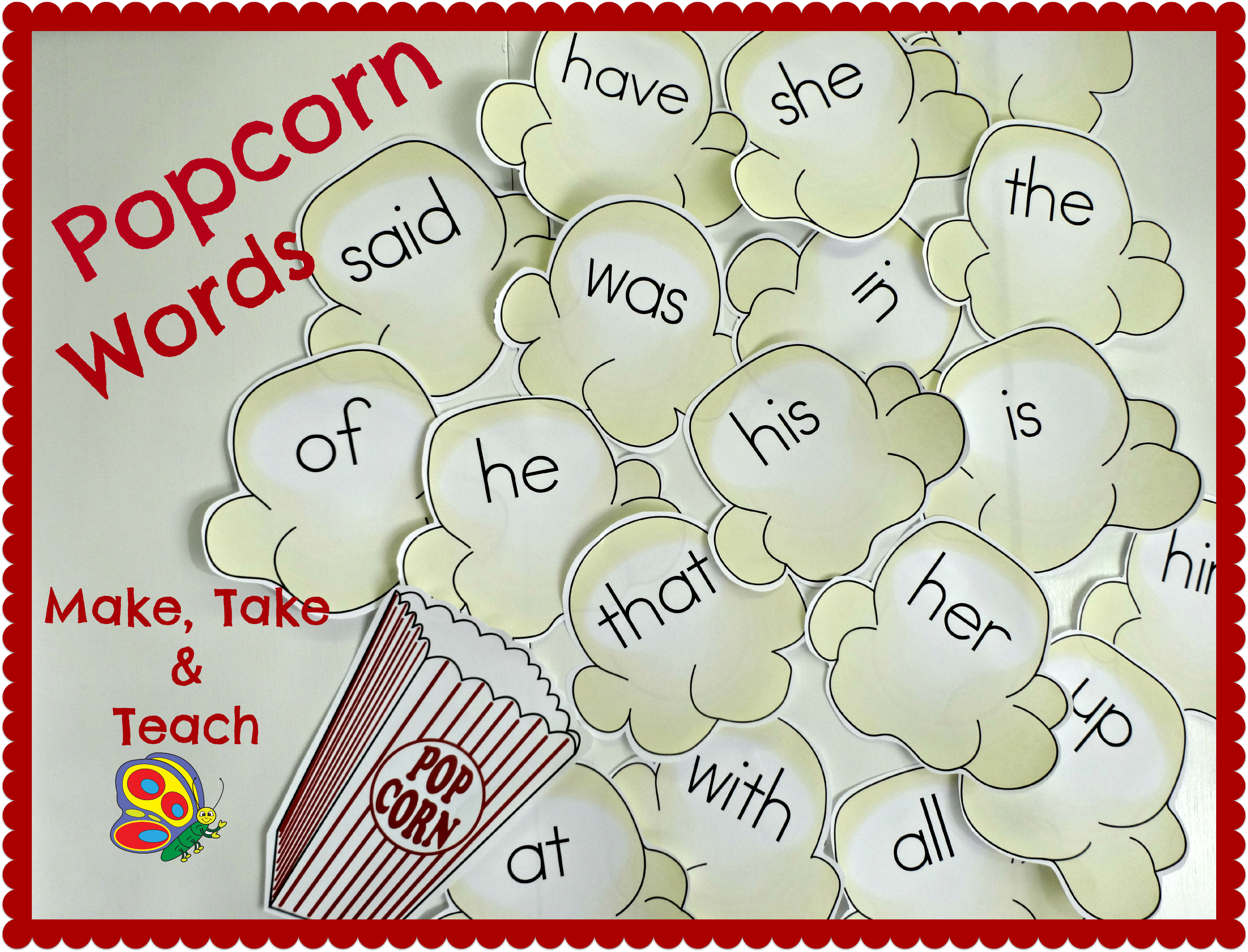Popcorn Words Make Take Teach