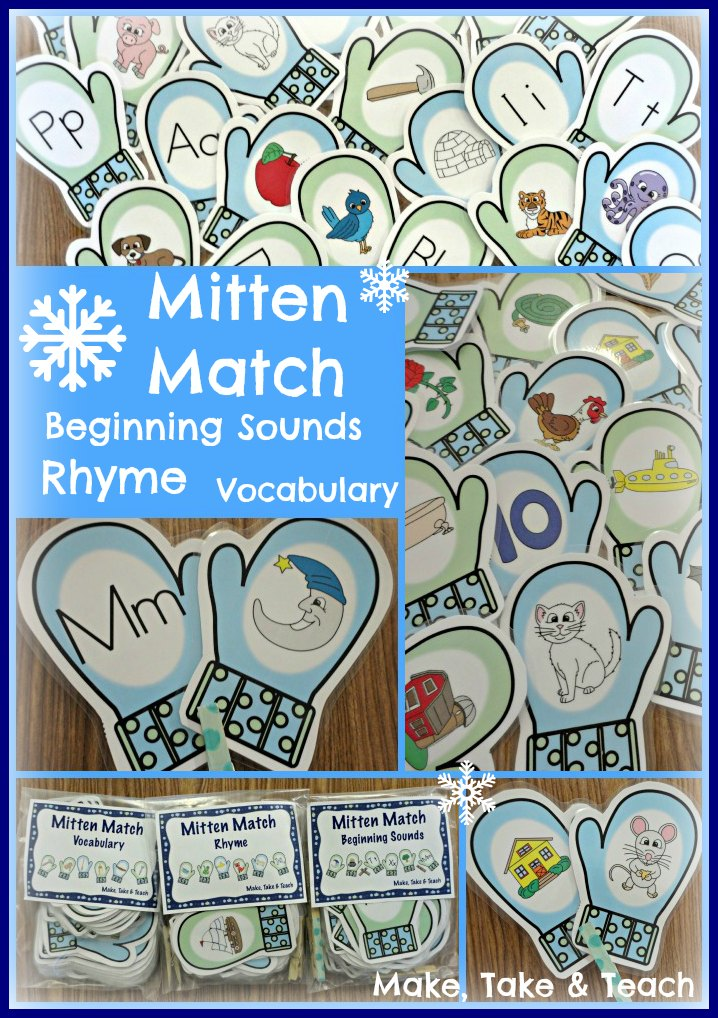 Mitten Match Activities for Rhyme, Beginning Sounds and Vocabulary ...