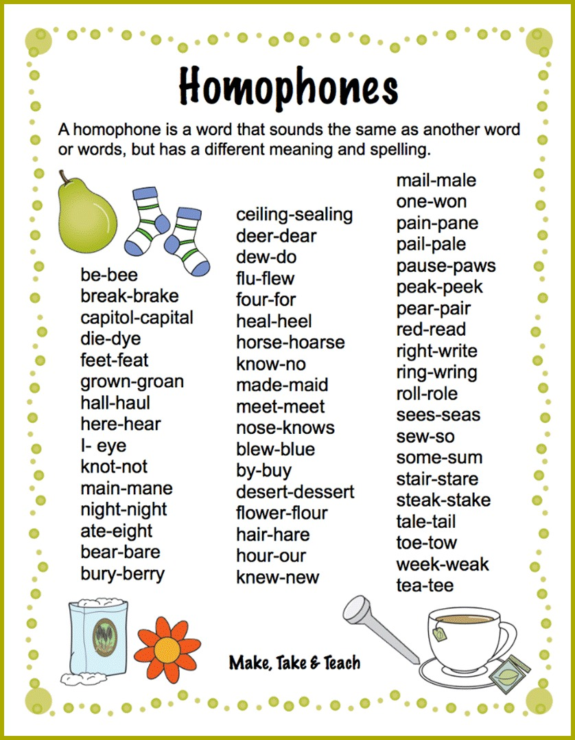 Academic writing examples sentences of homophones