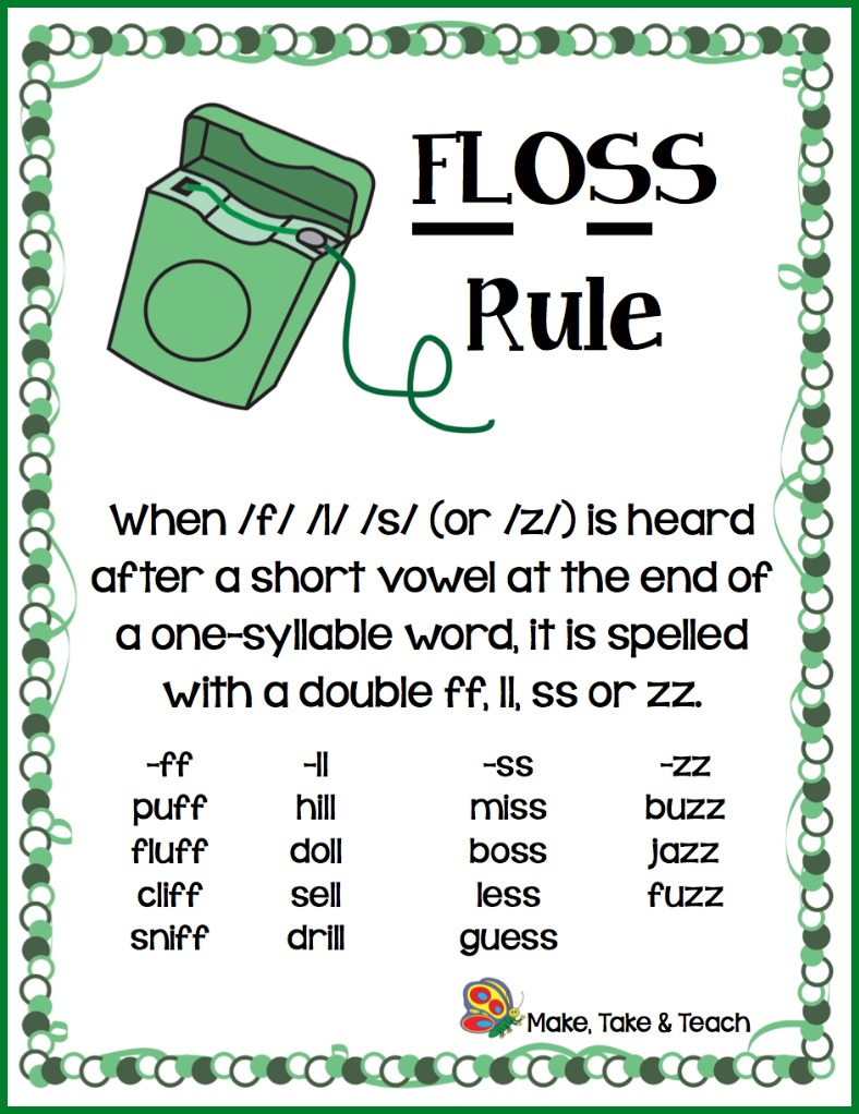 worksheet Zz Phonics Worksheets the floss rule make take teach ruleborder