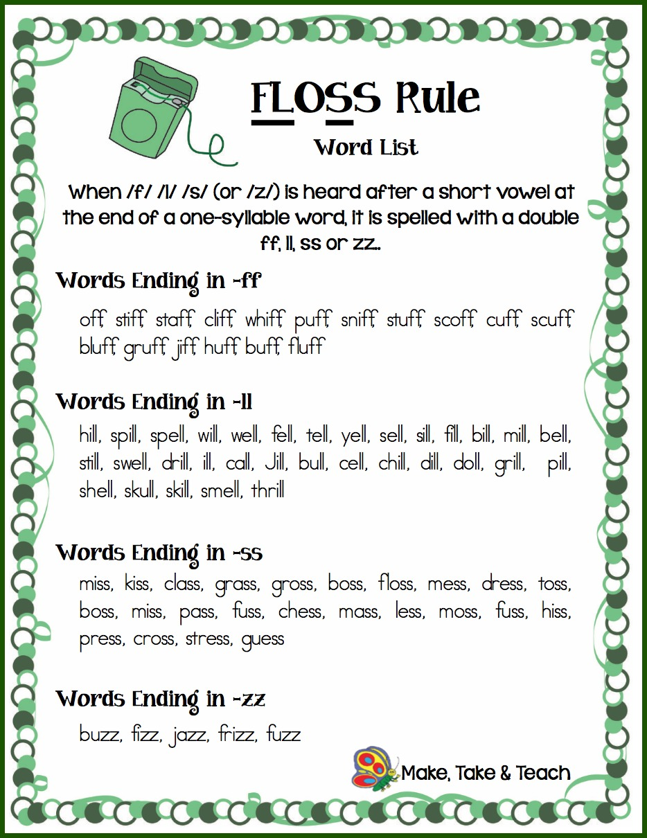 worksheet Ff Worksheets Phonics the floss rule make take teach its always helpful to have on hand word lists for specific phonics concepts you can also download this handout by clicking link below