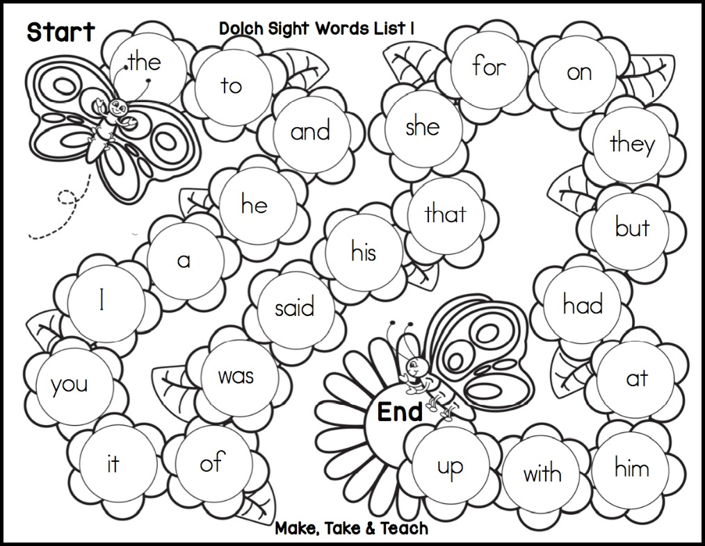 spring themed sight word game boards make take teach. Black Bedroom Furniture Sets. Home Design Ideas