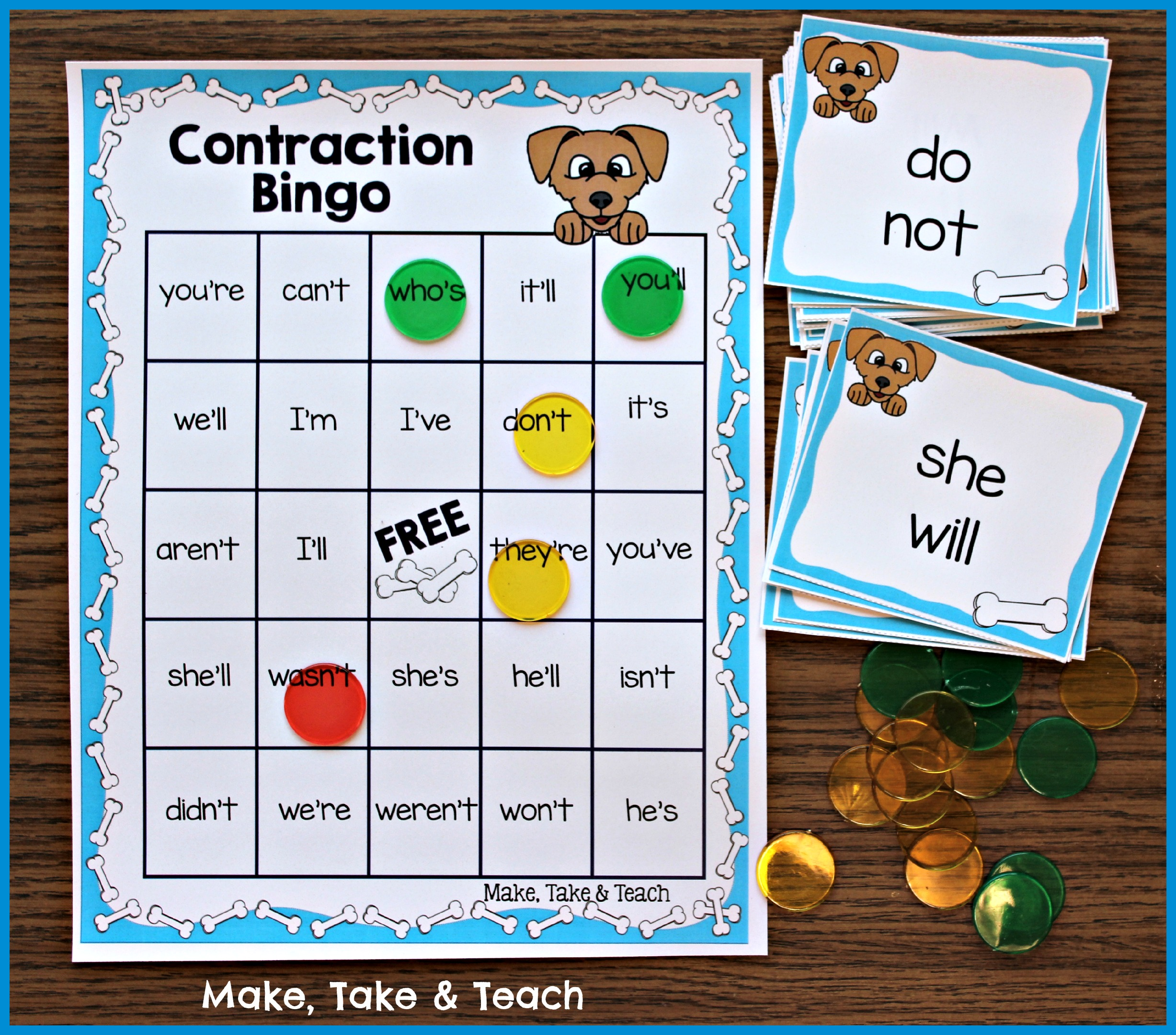 Fun Little Activity for Learning Contractions - Make Take & Teach