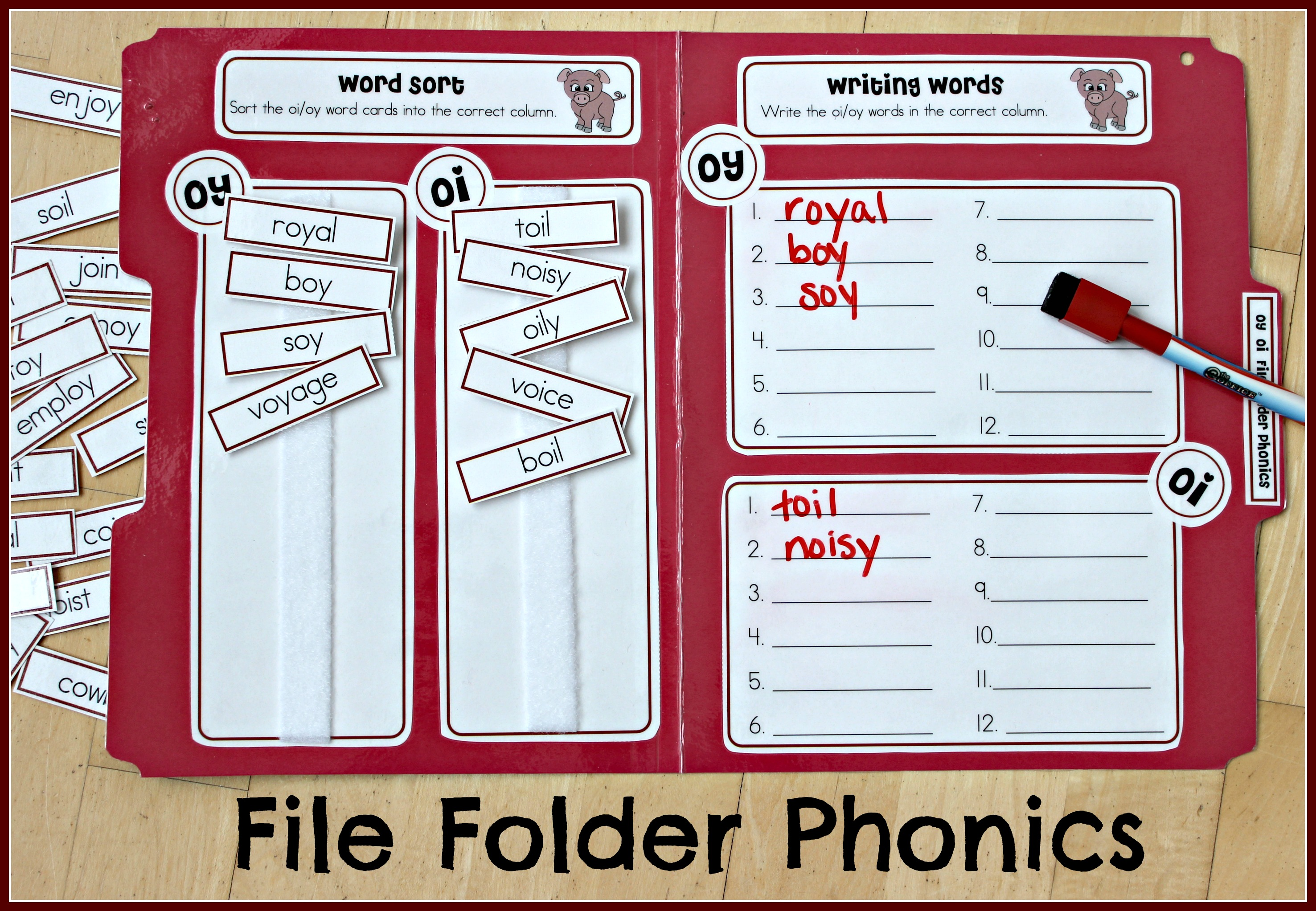 File Folder Phonics for oi and oy Make Take Teach – Word Sort Templates