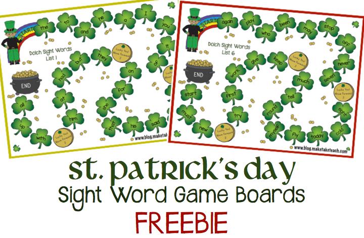 Free st patrick s day game boards make take amp teach