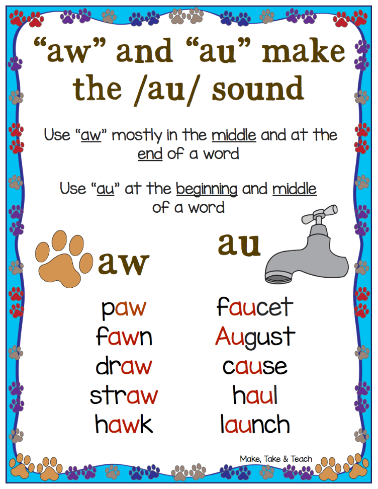 aw and -au Word Work Activities | -au/aw vowel | Word work ...