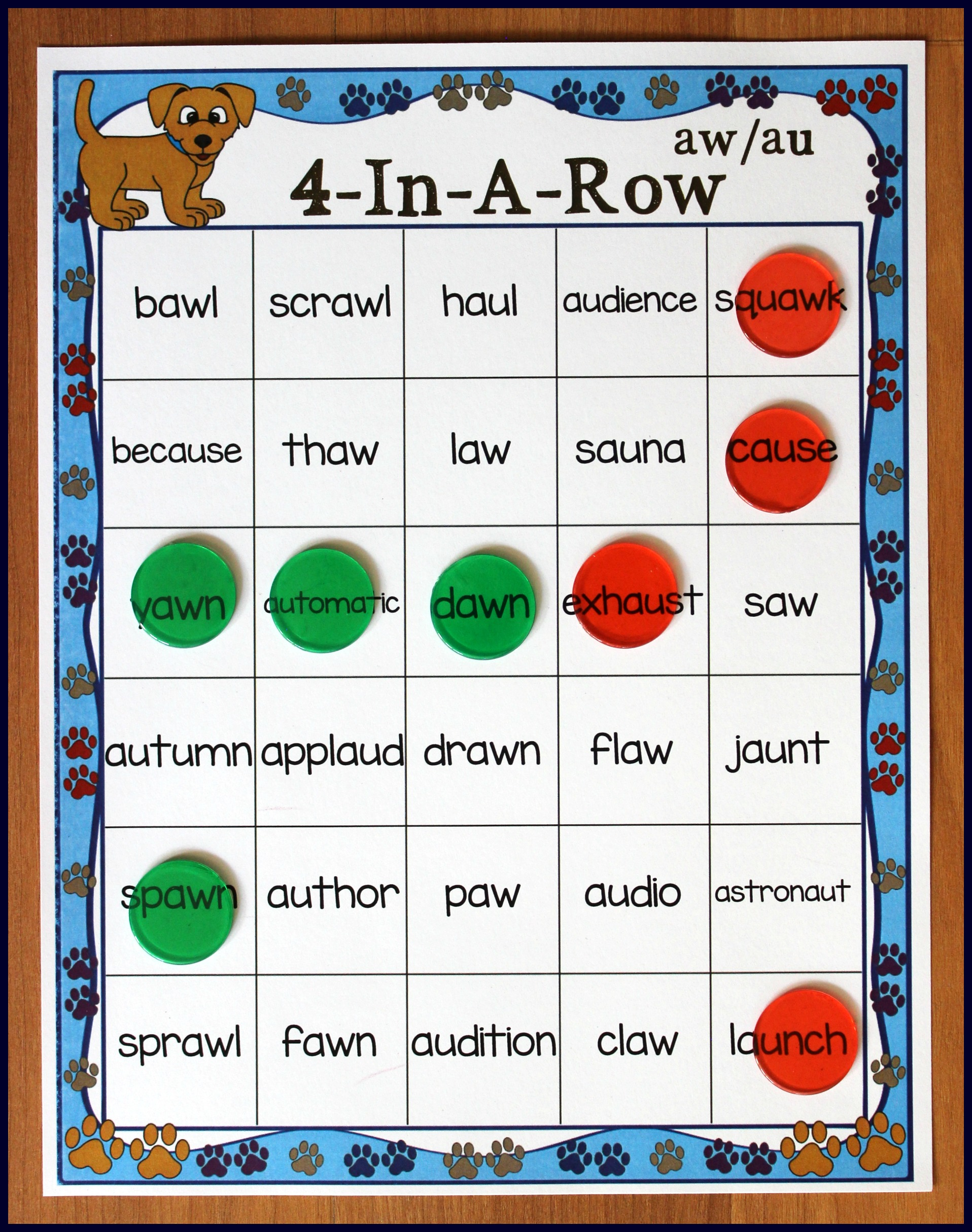 Worksheets Ir Words Phonics activities for teaching the auaw digraphs make take teach aw au phonics 4 in a row