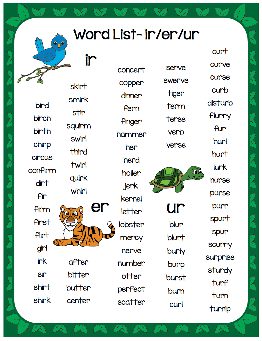 r controlled vowels word list