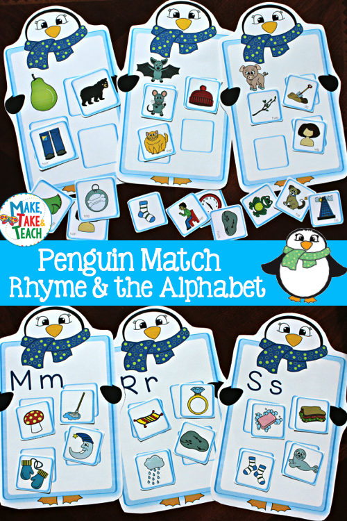 fun penguin themed rhyme and alphabet activities make take teach. Black Bedroom Furniture Sets. Home Design Ideas