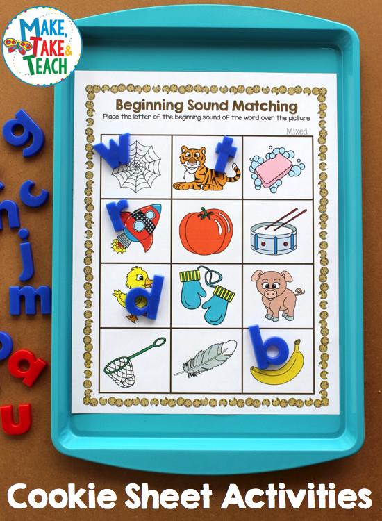 cookie sheet activities for beginning sounds