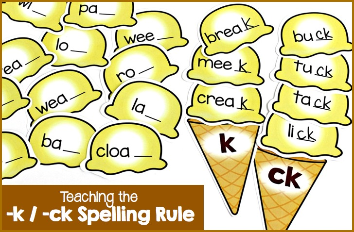 Fun little activity for teaching the k and ck spelling pattern the popcorn activity for sorting words containing the final k spelling pattern was such a hit i decided to create an ice cream cone version to add a sciox Images