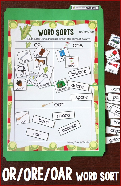 or ore oar word sort