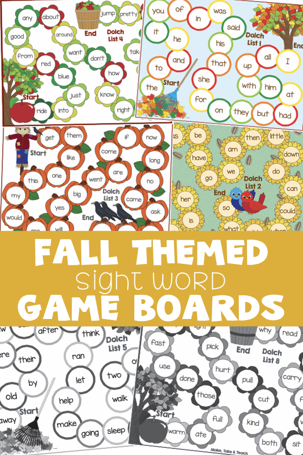 Fall Themed Sight Word Game Boards Make Take Amp Teach