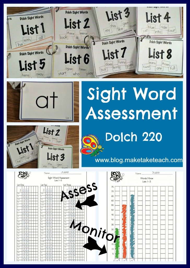 Dolch 220 Sight Word Assessment - Make Take & Teach
