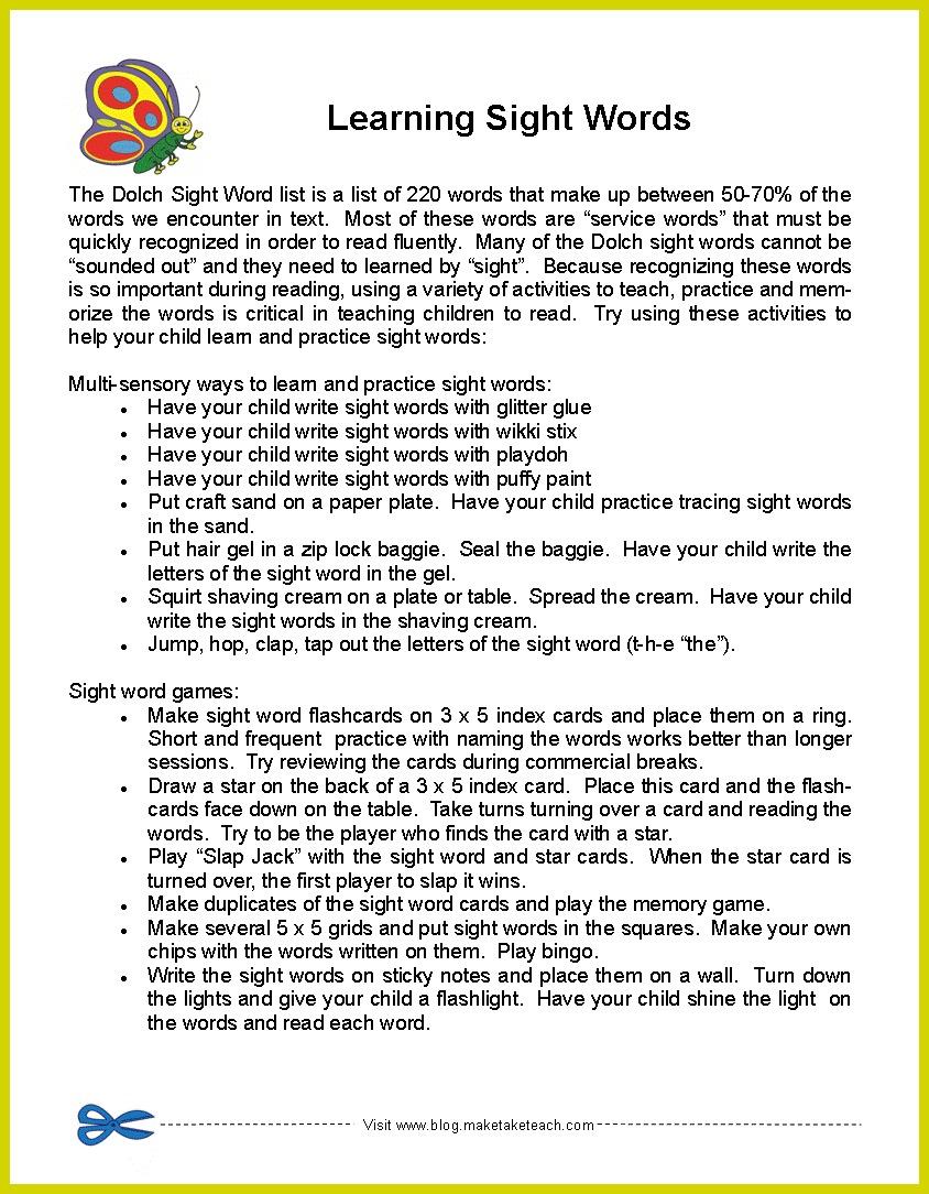 - Parent Handouts- Phonemic Awareness, Sight Words, Oral Reading