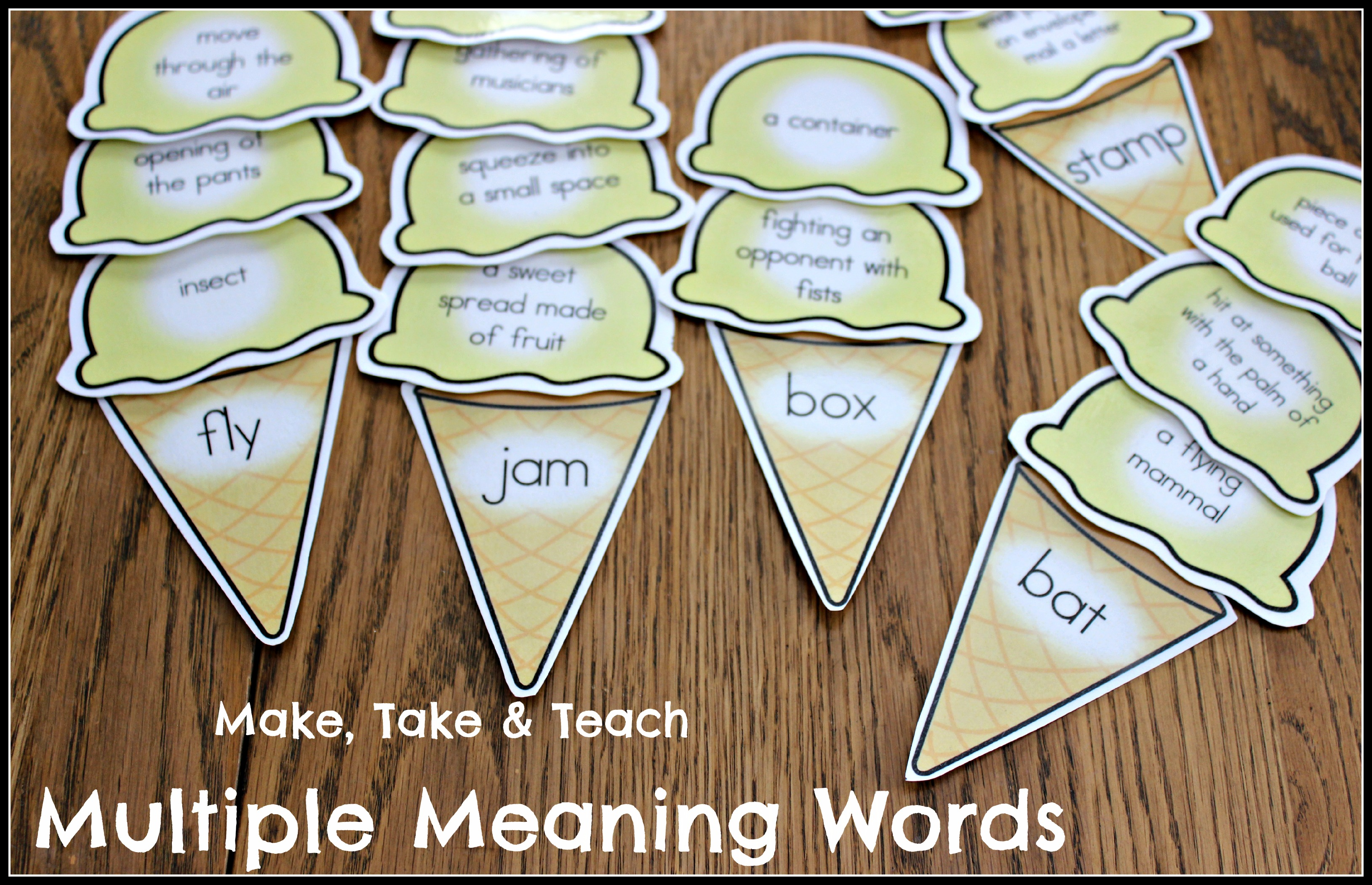 Multiple Meaning Words Ice Cream Scoops Make Take and Teach – Worksheets on Multiple Meaning Words