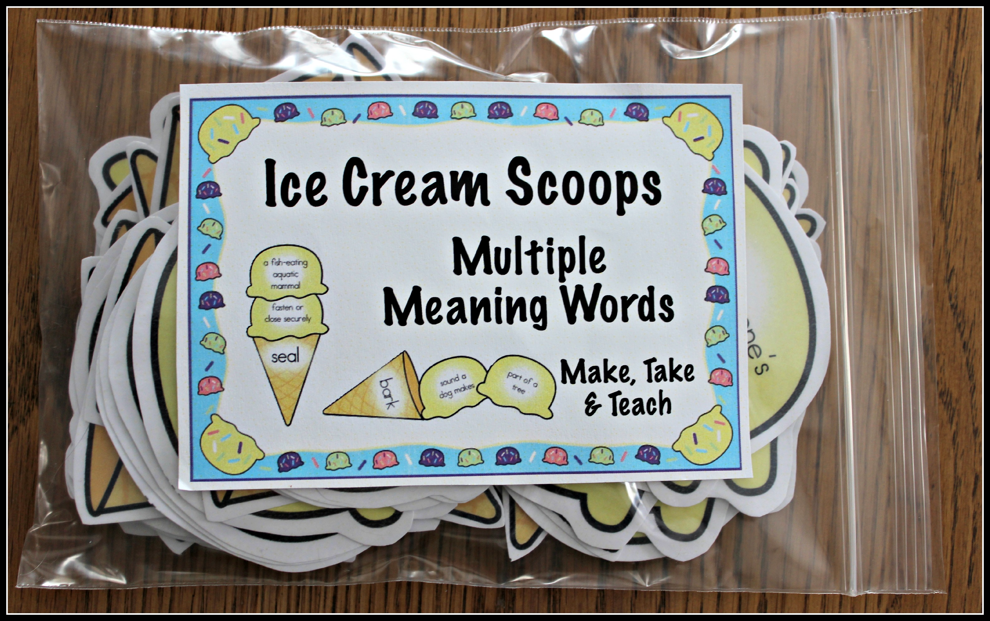 Multiple Meaning Words Ice Cream Scoops Make Take Teach