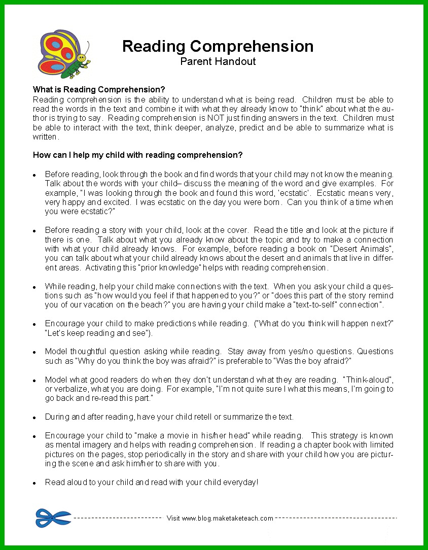 Workbooks letting go of control worksheets : Parent Handouts- Phonemic Awareness, Sight Words, Oral Reading ...