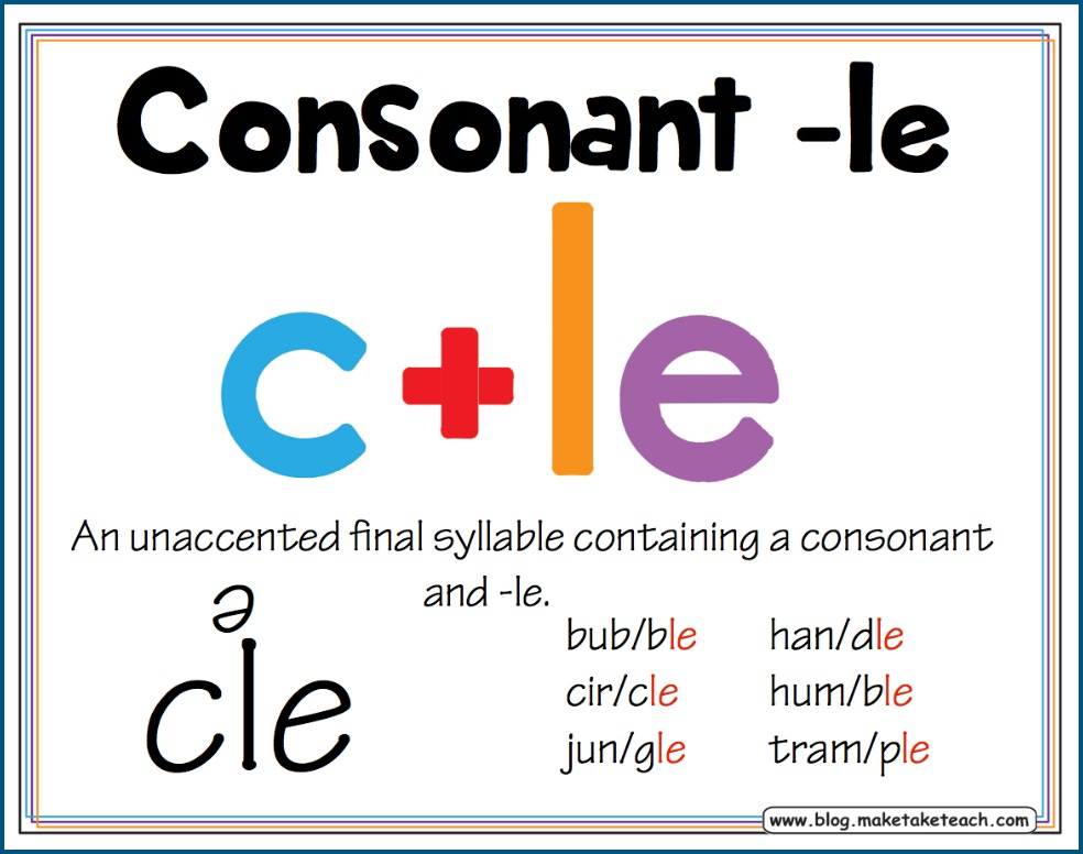 Printable Worksheets ending consonant blends worksheets : Teaching the Consonant+le Syllable Type - Make Take & Teach