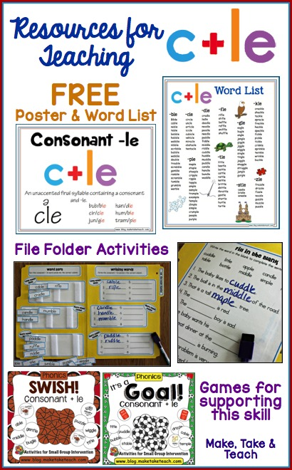 graphic relating to Syllable Games Printable identified as Coaching the Consonant+le Syllable Design - Crank out Choose Practice