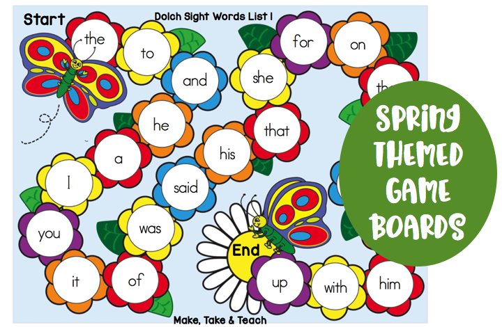 Spring Themed Game Boards For Teaching Sight Words Make